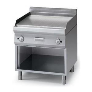 Fry Top a gas piastra liscia 2 zone+armadio aperto prof. 70 cm