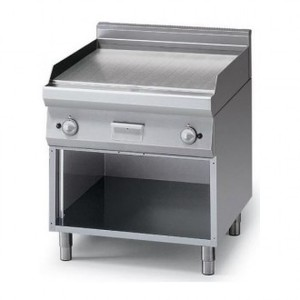 Fry Top a gas piastra liscia cromata 2 zone+armadio aperto prof. 70 cm