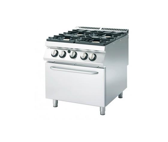 Cucina a gas 4 fuochi+forno a gas prof.90 cm-ATRC-90/80 CFG