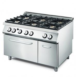 Cucina a gas 6 fuochi+forno elettrico convezione e armadio neutro prof.90 cm