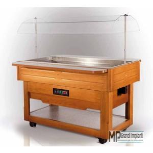 Buffet refrigerato in legno cm 145 con vetro sollevabile-BREAKFAST