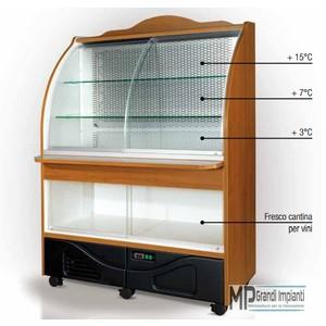 Buffet refrigerato a parete con vetri scorrevoli in legno-PARETE