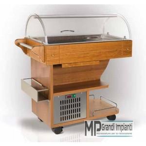 Buffet refrigerato con carrello in legno-CARRELLO