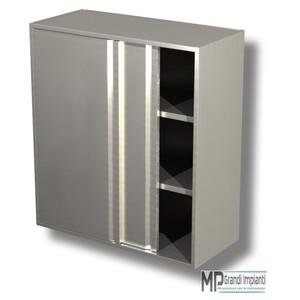 Pensile in acciaio inox h 100 2 ripiani porte scorrevoli varie larghezze