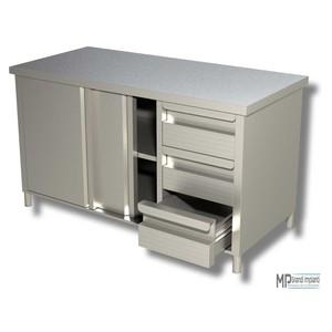 Tavolo armadiato inox prof.70 porte scorrevoli+3 cassetti dx varie dimensioni