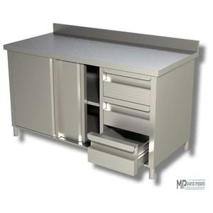 Tavolo armadiato inox prof. 70 porte scorrevoli+3 cassetti+alzatina varie dimensioni
