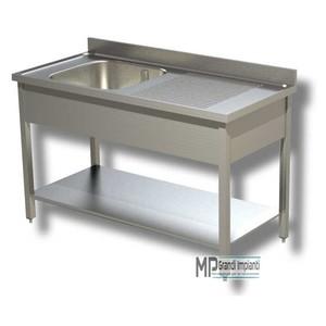Lavatoio inox 1 vasca sx+ripiano prof.70 varie larghezze