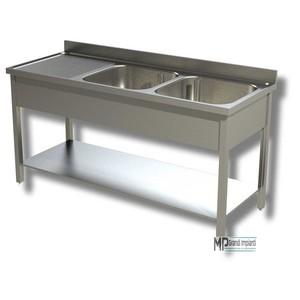 Lavatoio inox 2 vasche a destra+gocciolatoio prof.70 varie larghezze