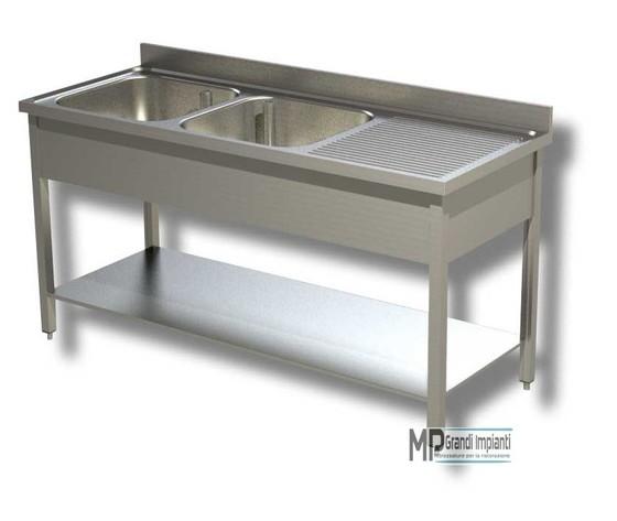Lavatoio inox 2 vasche sx+gocciolatoio prof.70 varie larghezze