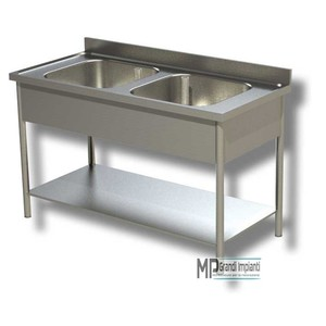 Lavatoio inox 2 vasche+alzatina+ripiano prof.70 varie larghezze