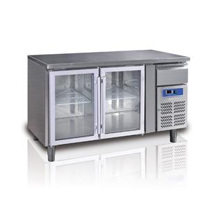 Tavolo refrigerato 2 porte in vetro+cassetto neutro Temp. +2°+8°C