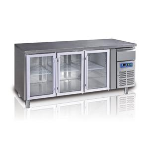 Tavolo refrigerato 3 porte in vetro+cassetto neutro Temp. +2°+8°C