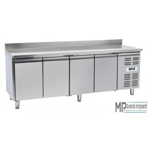 Tavolo refrigerato inox con alzatina 4 porte 223x70x96