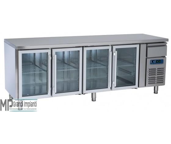 Tavolo refrigerato 4 porte in vetro+cassetto neutro +2°+8°C