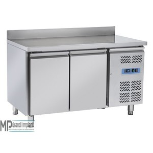 Tavolo freezer inox 2 porte con alzatina
