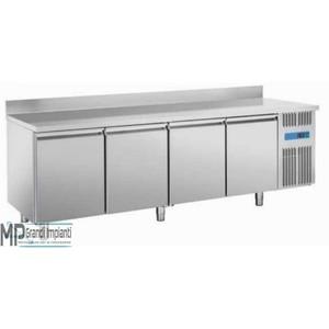 Tavolo refrigerato inox per pasticceria 4 porte +alzatina posteriore