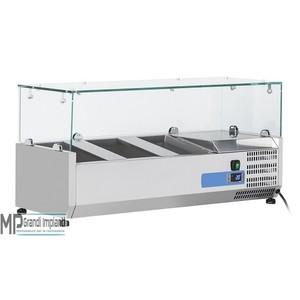 Vetrina refrigerata per vaschette GN1/4  Top in vetro Varie Dimensioni