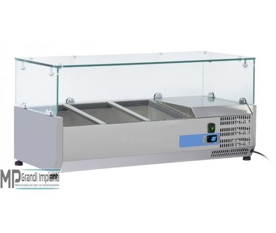 Vetrina refrigerata per banco pizza vaschette GN1/3 Top in vetro