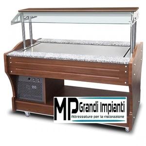 Buffet freddo ad isola con piano refrigerato statico cm 155-IEC0041