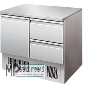 Saladette refrigerata inox 1 porta+2 cassetti Temp. +2°+8°C