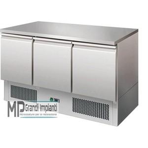 Saladette refrigerata 3 porte con piano inox