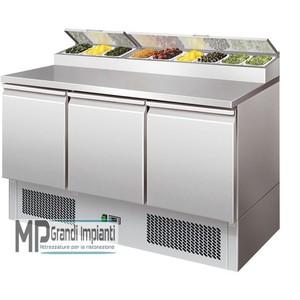 Saladette refrigerata 3 porte con porta bacinelle (8xGN1/6)