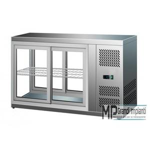 Vetrinetta da banco refrigerata ventilata inox porte scorrevoli +2°C +8°C
