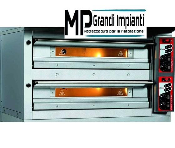 Forno pizza elettrico monoblocco 2 camere cm 105x105x16h Zanolli-PW 9+9 F/MC