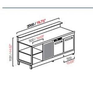 Banco bar refrigerato 2 vani+motore cm 200 semilavorato-BB20