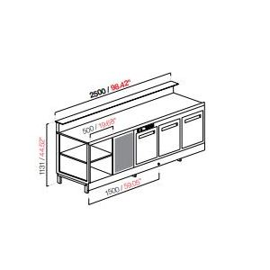 Banco bar refrigerato 3 porte cm 250 semilavorato-BB25/3
