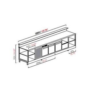 Banco bar refrigerato 3 porte+motore cm 350 semilavorato-BB35/3