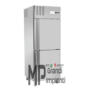 Armadio freezer inox 2 mezze porte 550 litri temp -18° -22°C-RNM640