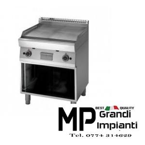 Fry Top a gas piastra liscia-rigata 2 zone+armadio aperto prof. 70 cm-ATRC-70/70 FTRG