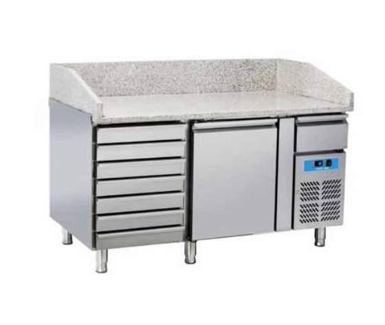 Tavolo Refrigerato Pizza 1 porta + cassettiera +top in granito cm 151