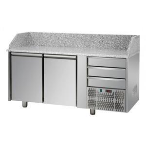 Tavolo pizza 2 porte+3 cassetti neutri con piano in granito