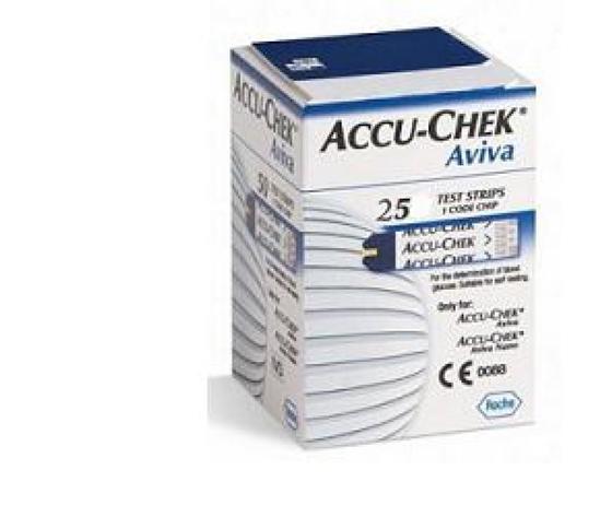 ACCU-CHEK Aviva 25 str reattiva plasma calibrata per la determinazione quantitativa della glicemia