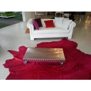tavolo basso con rotelle in acciaio