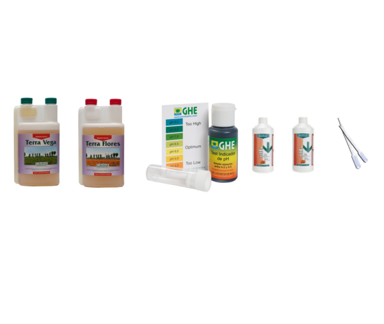 KIT FERTILIZZANTI CANNA TERRA VEGA FLORES + TEST PH GHE+ PH DOWN VEG+BLOOM