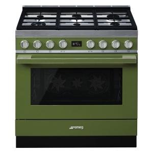 Smeg CPF9GMOG cucina serie portofino piano 6 fuochi forno termoventilato colore verde oliva
