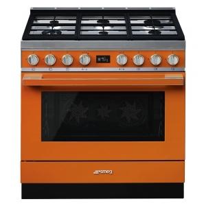 Smeg CPF9GPOR cucina serie portofino piano 6 fuochi forno pirolitico colore arancione