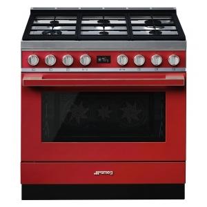 Smeg CPF9GPR cucina serie portofino piano 6 fuochi forno pirolitico colore rosso
