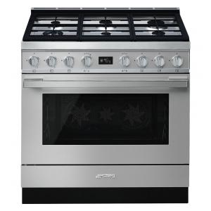 Smeg CPF9GPX cucina serie portofino piano 6 fuochi forno pirolitico colore inox