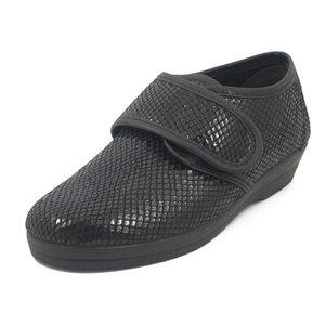 CINZIA SOFT pantofola donna in ecopelle lucida stampata colore nero, 414710 i17