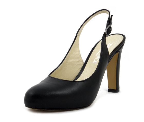 Osvaldo Pericoli sandalo in pelle nero, tacco 9cm. e plateau 1,5cm., 380NE