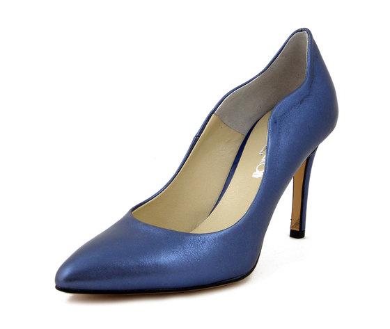 Osvaldo Pericoli, Scarpe Donna Decollete a punta in Pelle Laminato Blu, Tacco Alto 9 cm, 500BL