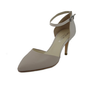 Osvaldo Pericoli Sandalo elegante in pelle e vernice beige, tacco 7cm.-501