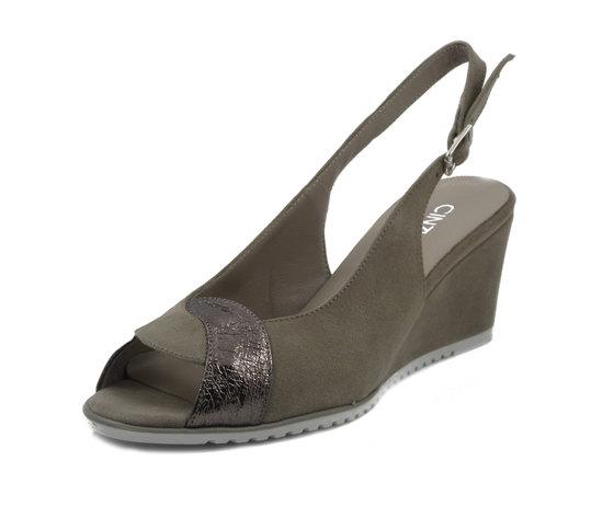 CINZIA SOFT, Sandalo Donna Comfort in Eco Camoscio Beige, Zeppa Media 6 cm