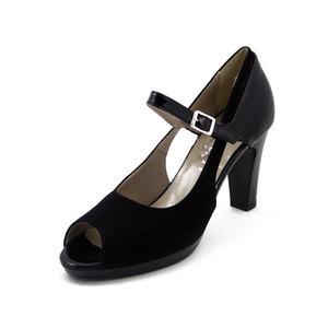 CINZIA SOFT, Sandalo elegante in ecocamoscio nero, tacco 9cm.+plateau, 122329