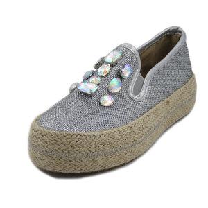 Pregunta, slipon in tessuto glitter argento, accessori silver, 011