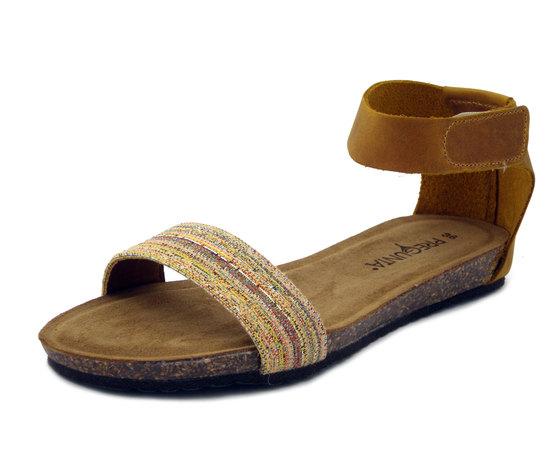 Pregunta, Sandalo in pelle colore Ocra, zeppa 2cm, sottopiede inbottito - 10099973